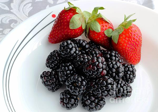 Fruit Photograph - Fruit Iv - Strawberries - Blackberries by Barbara Griffin