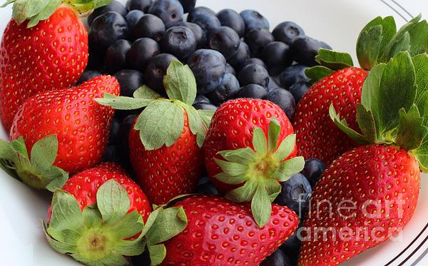 Fruit Photograph - Fruit - Strawberries - Blueberries by Barbara Griffin
