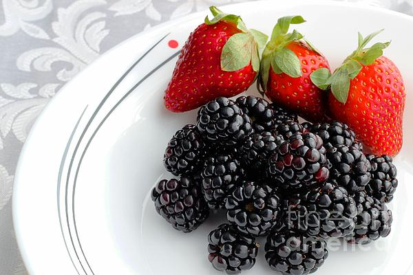 Fruit Photograph - Fruit V - Strawberries - Blackberries by Barbara Griffin