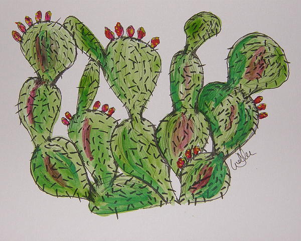 Prickly Pear Painting - Fruity Prickly Pear by Marcia Weller-Wenbert