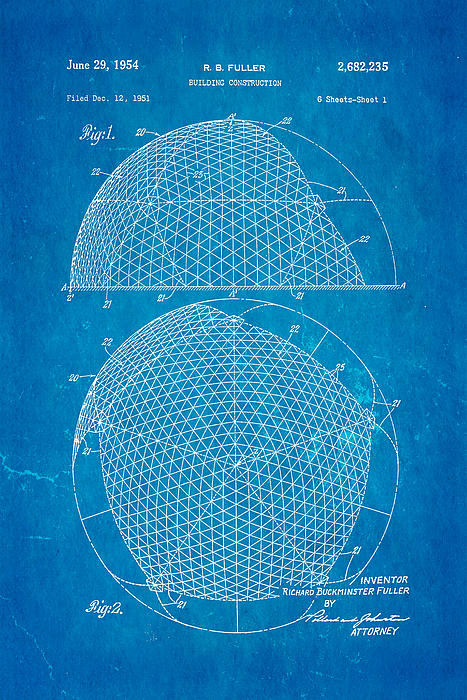 Construction Photograph - Fuller Geodesic Dome Patent Art 1954 Blueprint by Ian Monk