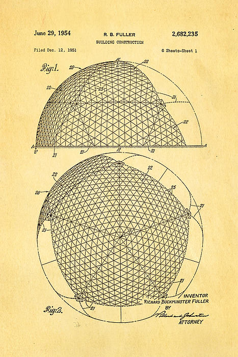Construction Photograph - Fuller Geodesic Dome Patent Art 1954  by Ian Monk