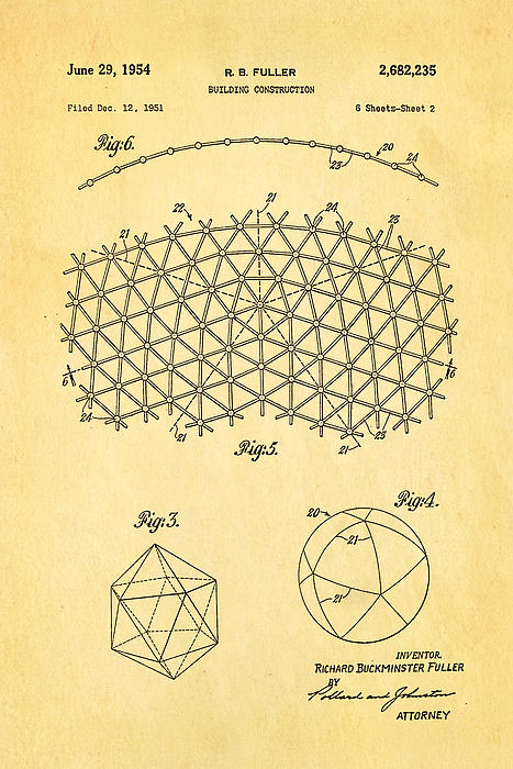 Construction Photograph - Fuller Geodesic Dome Patent Art 2 1954  by Ian Monk