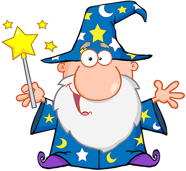 Funny Wizard Waving With Magic Wand Drawing by Chud