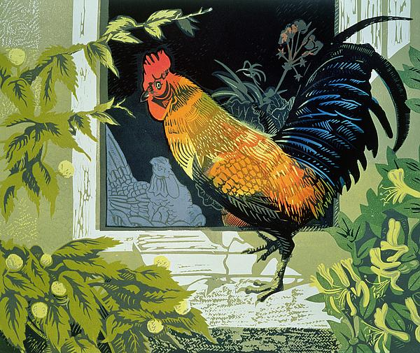 Window Painting - Gamecock And Hen by Carol Walklin