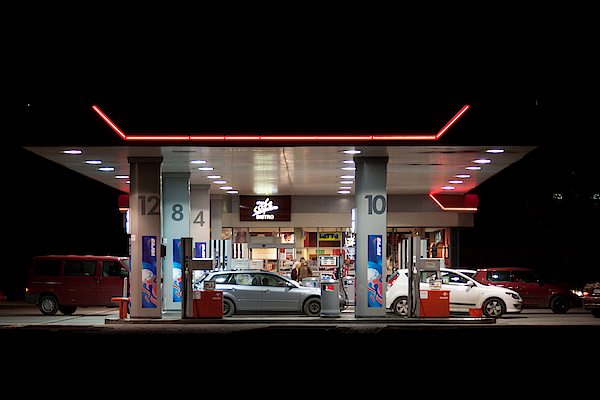 Gas Station At Night Photograph by Moniaphoto