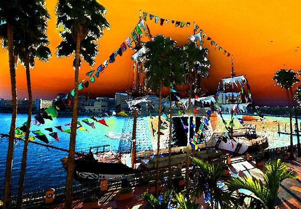 Pirate Ship Jose Gasparilla Painting - Gasparilla Sunset by David Lee Thompson