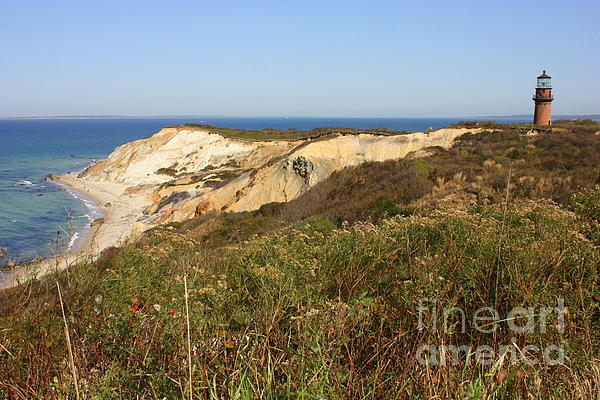 Lighthouse Photograph - Gay Head Lighthouse With Aquinnah Beach Cliffs by Carol Groenen