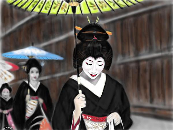Ipad Painting - Geisha No.54 by Yoshiyuki Uchida