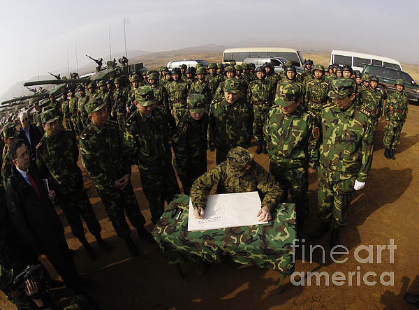 China Photograph - General Peter Pace Signs A Message by Stocktrek Images