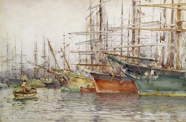 Genoa Painting - Genoa Harbour, 1904 by Henry Scott Tuke