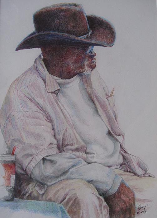 African Americans Painting - Gentleman Wearing The Dark Hat by Sharon Sorrels