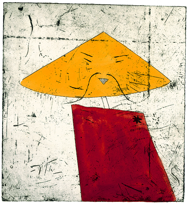 Geometric Figure With Face Drawing by Tim Southall