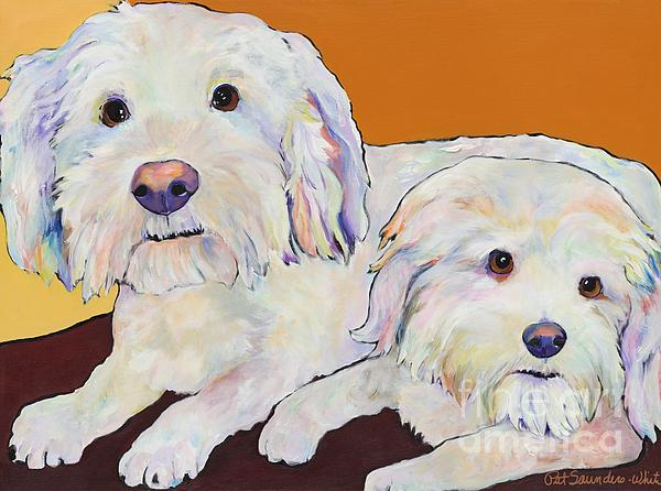 Pet Portraits Painting - George And Henry by Pat Saunders-White