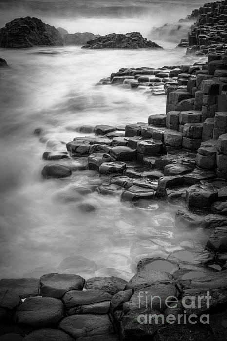 B&w Photograph - Giants Causeway Waves  by Inge Johnsson