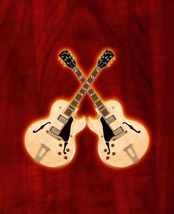 Gibson Digital Art - Gibson-es-175 by Doron Mafdoos