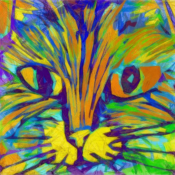 Modern Digital Art - Ginger Kitty by Michelle Calkins