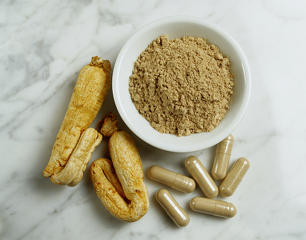 Ginseng Root, Powder And Capsules Photograph by Mitch Hrdlicka