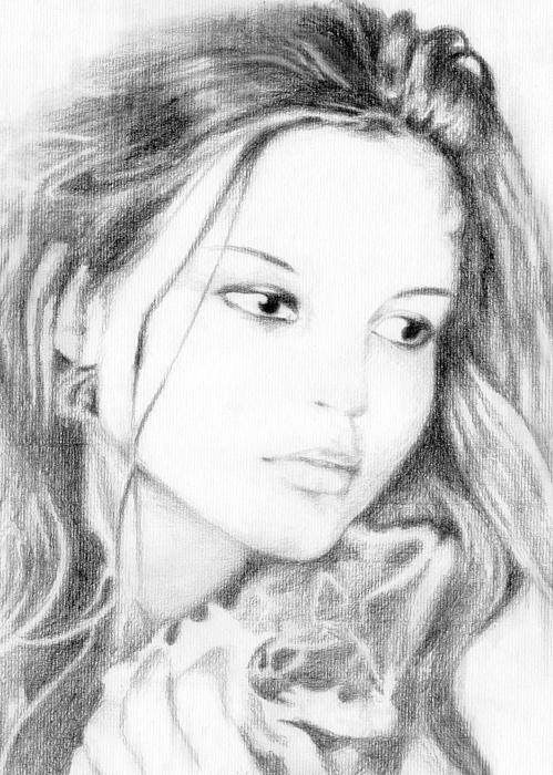 Pencil Drawing - Girl by Ahmed Amir