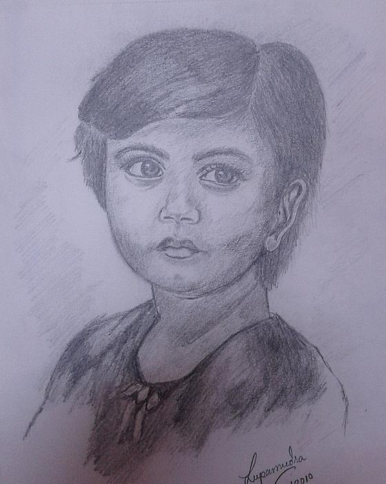 Girl Drawing by Lupamudra Dutta