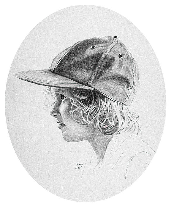 Pencil7 X 51988 Drawing - Girl With Baseball Cap by Robert Tracy