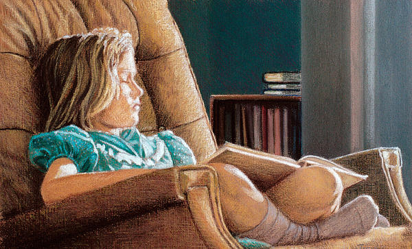 Girl Pastel - Girl With Book by Robert Tracy