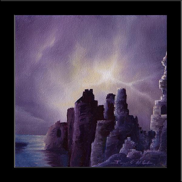 Sunrise Painting - Girnigoe Castle by James Christopher Hill