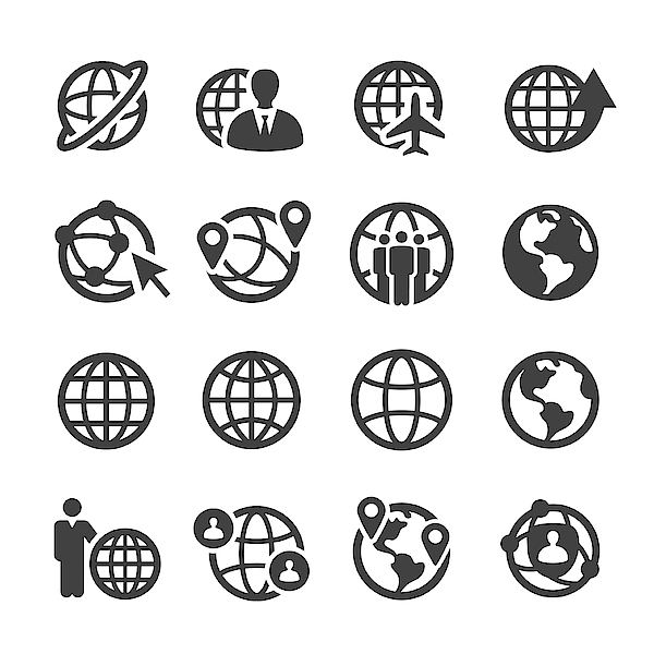 Globe And Communication Icons Set - Acme Series Drawing by -victor-