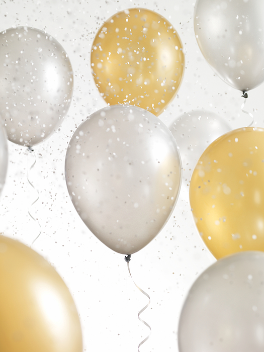 Gold And Silver Balloons With Confetti Photograph by Lauren Nicole