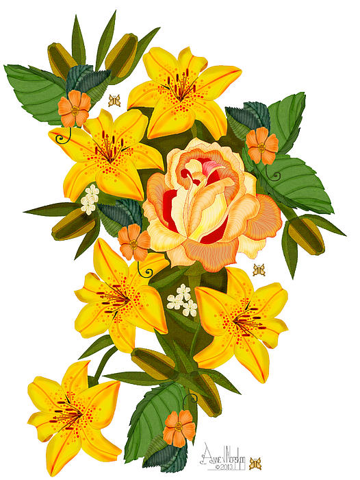 Golden Rose Painting - Golden Lily Flowers With Golden Rose by Anne Norskog