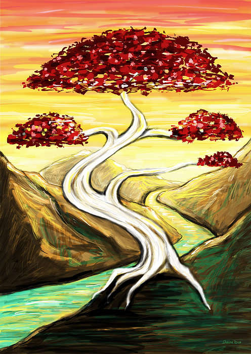 Bonsai Drawing - Golden Sunrise by Shawna Rowe