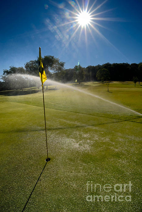 Flag Photograph - Golf Course Sprinkler On Sunny Day by Amy Cicconi