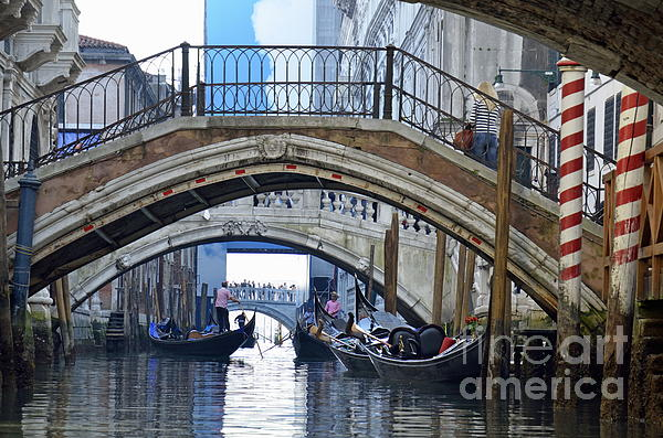 Adult Photograph - Gondolas And Bridges On Canal by Sami Sarkis