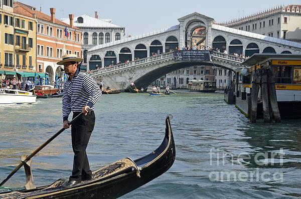Boat Photograph - Gondolier On Gondola By Rialto Bridge by Sami Sarkis
