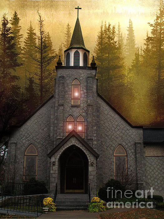 Gothic Old Church Autumn Forest Woodlands Photograph by Kathy Fornal