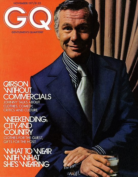 Gq Cover Of Johnny Carson Wearing Suit Photograph by Bruce Bacon
