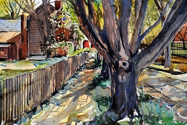 New Harmony Painting - Granary Street New Harmony Indiana by Spencer Meagher