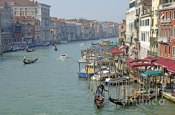 Boat Photograph - Grand Canal Viewed From Rialto Bridge by Sami Sarkis