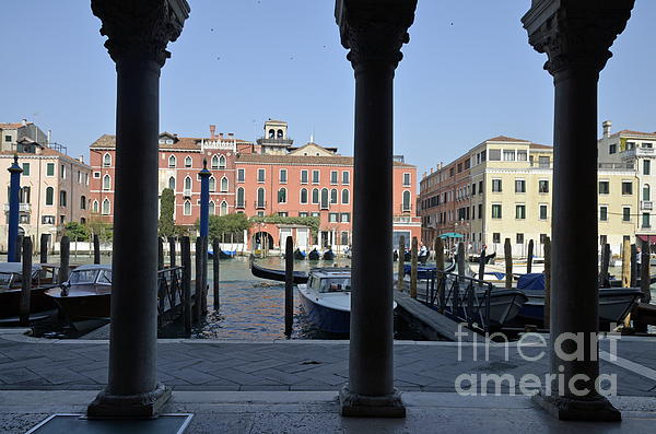 Behind Photograph - Grand Canal Viewed Through Columns by Sami Sarkis