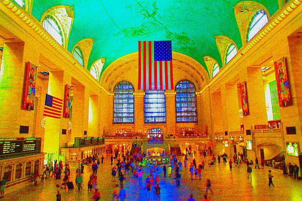 American Flag Photograph - Grand Central Terminal by Dan Hilsenrath