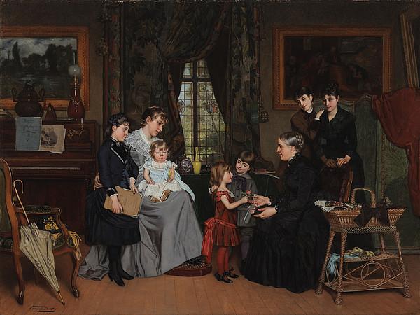 Grandmother Painting - Grandmas Birthday by Louis Edmond Pomey