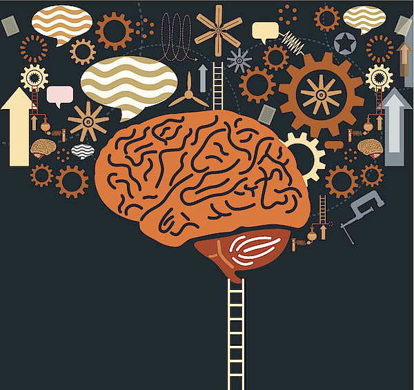 Graphic Of Ladder To Brain With Gears And Speech Bubbles Drawing by Nihatdursun
