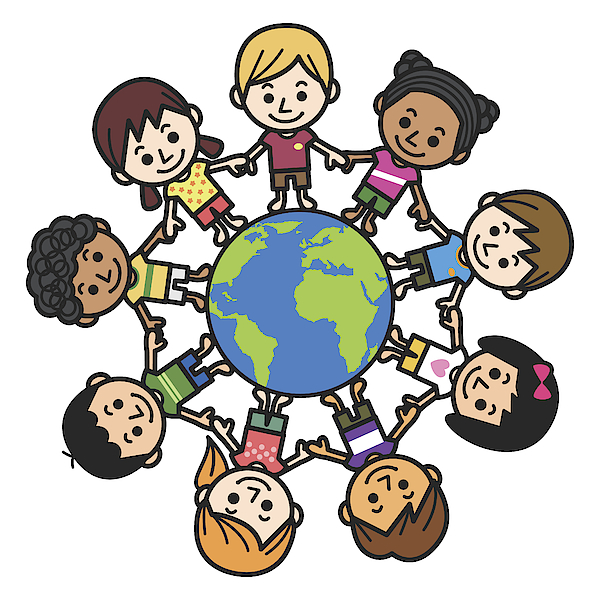 Graphic Of Smiling Multicultural Kids About The World Drawing by Yuoak