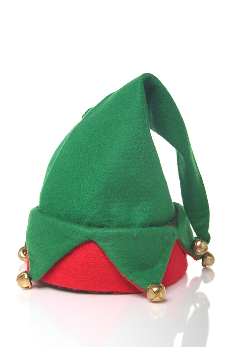 Green And Red Elf Hat With Bells With A White Background Photograph by Sadeugra