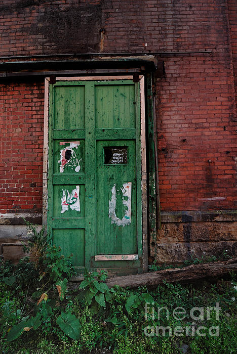 Green Photograph - Green Door On Red Brick Wall by Amy Cicconi