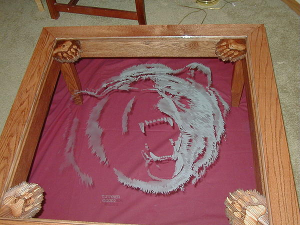 Griz Table Glass Art - Griz Table by Tim  Joyner