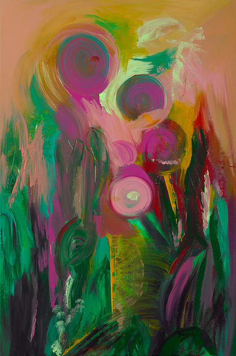 Abstract Painting - Growing Together by Donna Blackhall