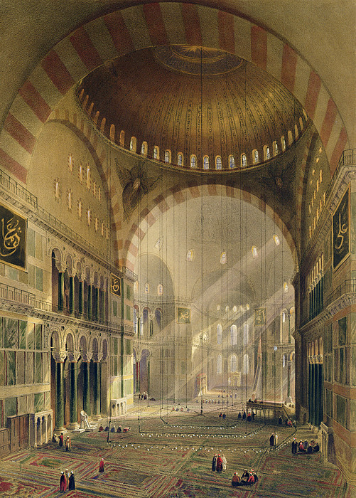 Lighting Drawing - Haghia Sophia, Plate 24 Interior by Gaspard Fossati
