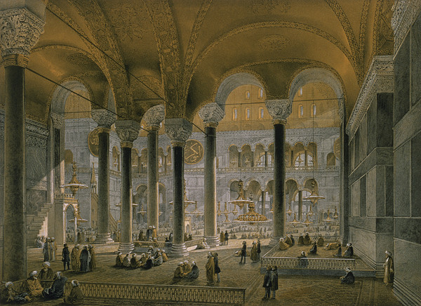 Interior Drawing - Haghia Sophia, Plate 6 The North Nave by Gaspard Fossati
