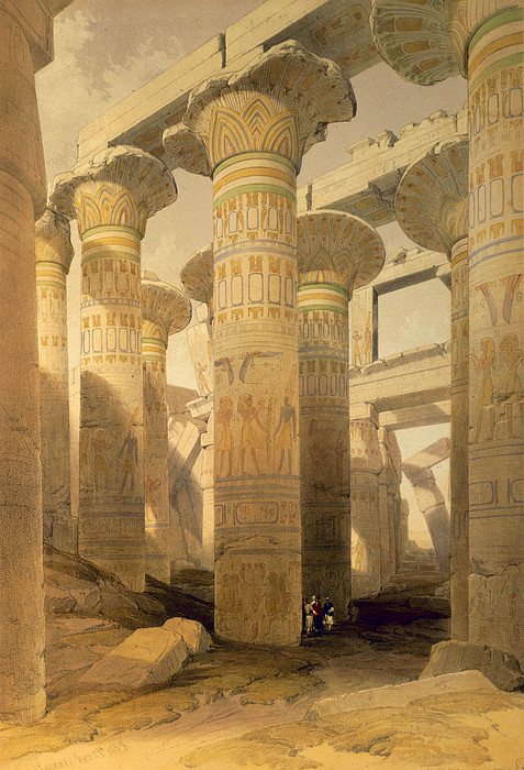 Ruins Drawing - Hall Of Columns, Karnak, From Egypt by David Roberts